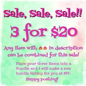 3 for 20 sale!!